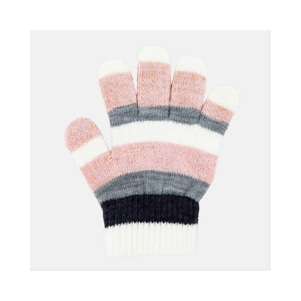 Girl's gloves striped with lurex - Colombo Milano 1911 - pink