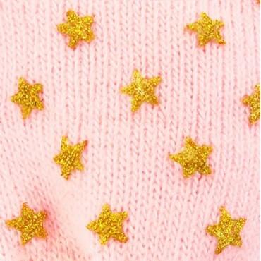 Muffole da neonata con stelle glitter - dettaglio