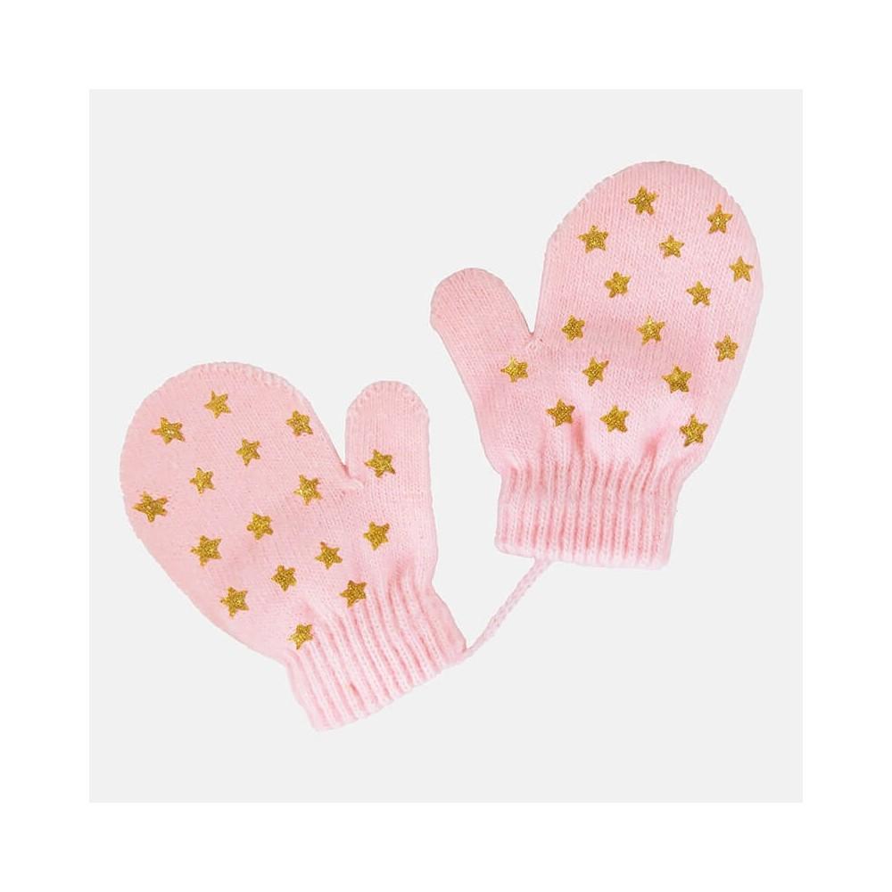 Muffole da neonata con stelle glitter - rosa