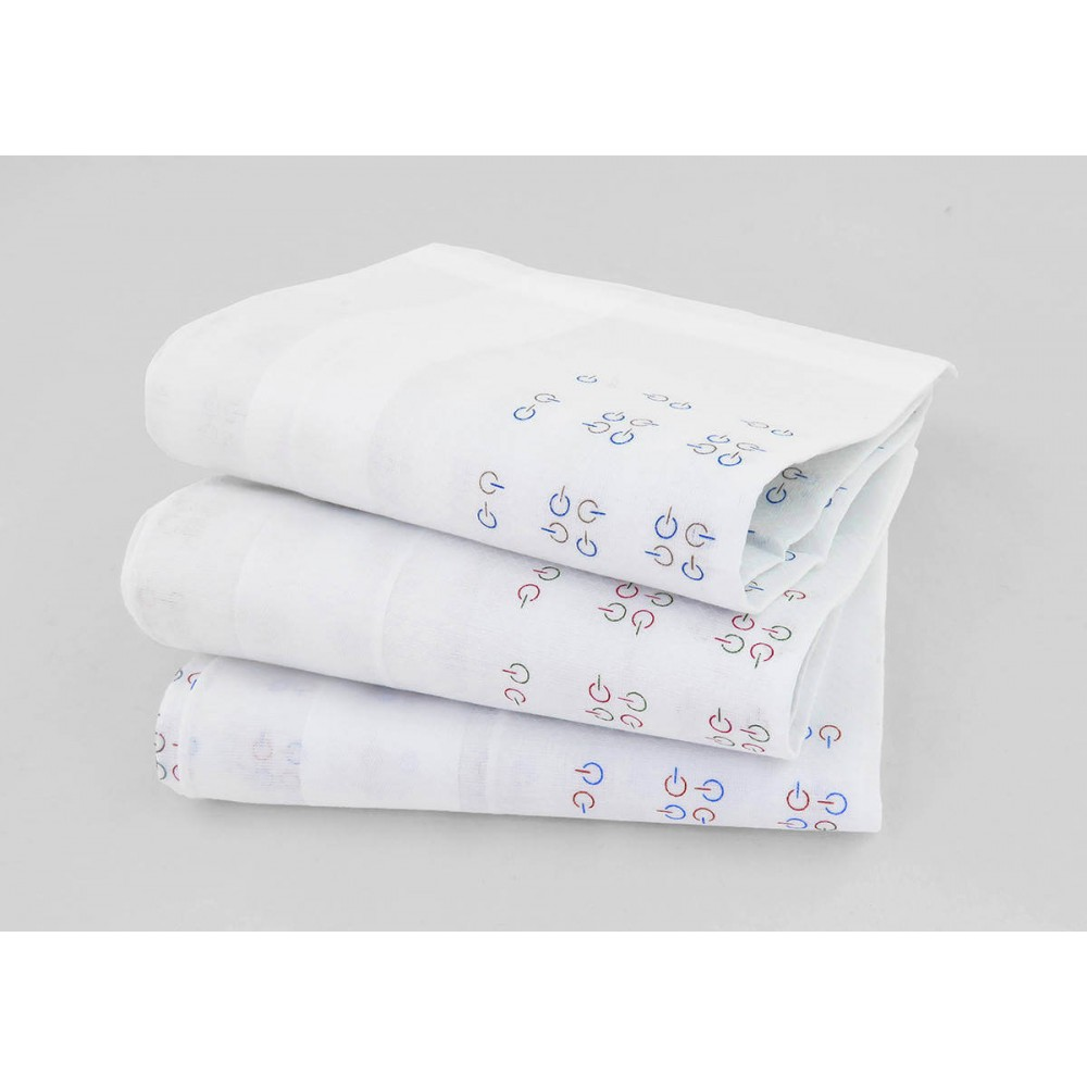 Principe - white handkerchiefs hand-printed abstract motifs