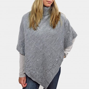 Cape with rhinestones and turtle neck grey detail
