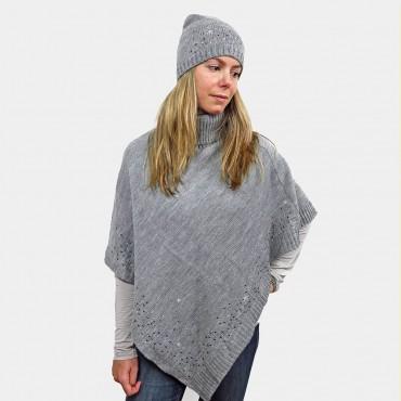 Cape and cap with rhinestone rain model gray color