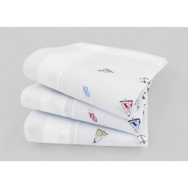Varianti - Principe - fazzoletti di cotone bianchi da uomo con motivi marinari