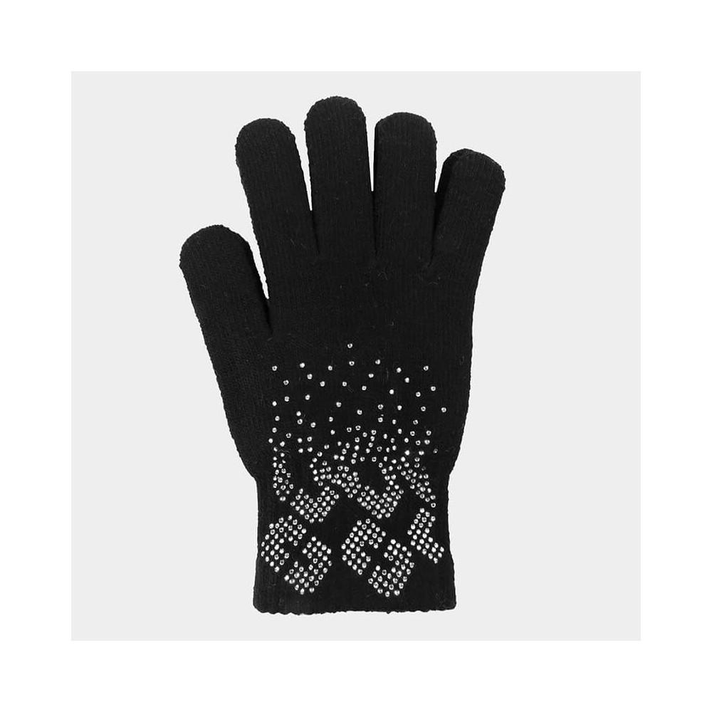 Gloves with geometric pattern rhinestones - black