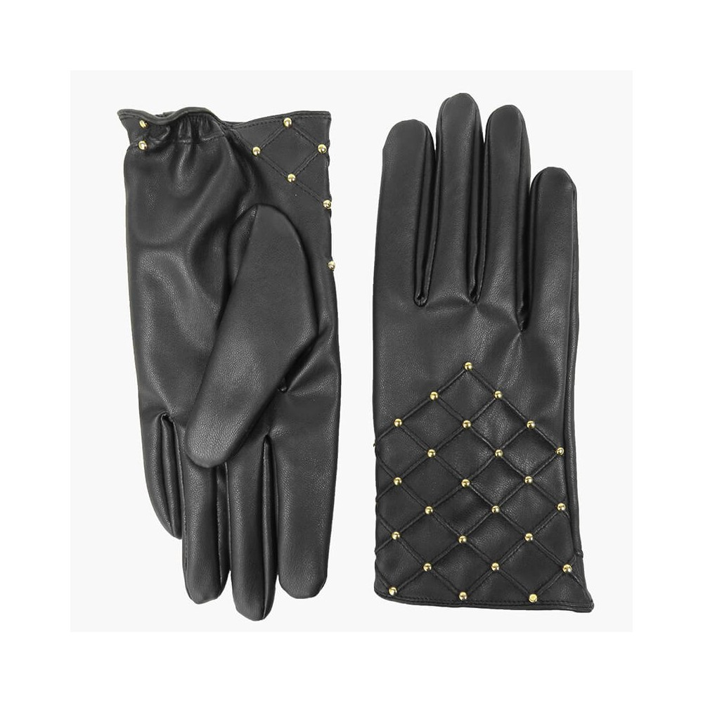 Fake leather gloves with gold studs