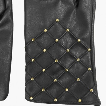 Fake leather gloves with gold studs detail