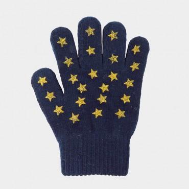 Guanti da bimba con stampa glitter a stelle blu - Colombo Milano 1911