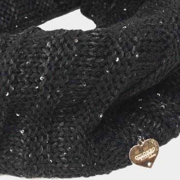 Sciarpa ad anello con lurex e paillettes -  Colombo Milano 1911  nera dettaglio
