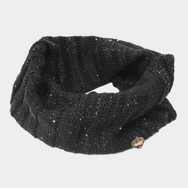Ring scarf with lurex and sequins black