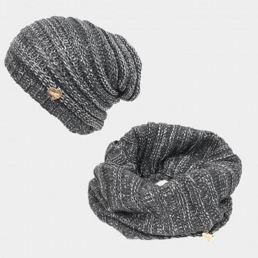 Completo di cappello e sciarpa con lurex e paillettes - Colombo Milano 1911 grigio
