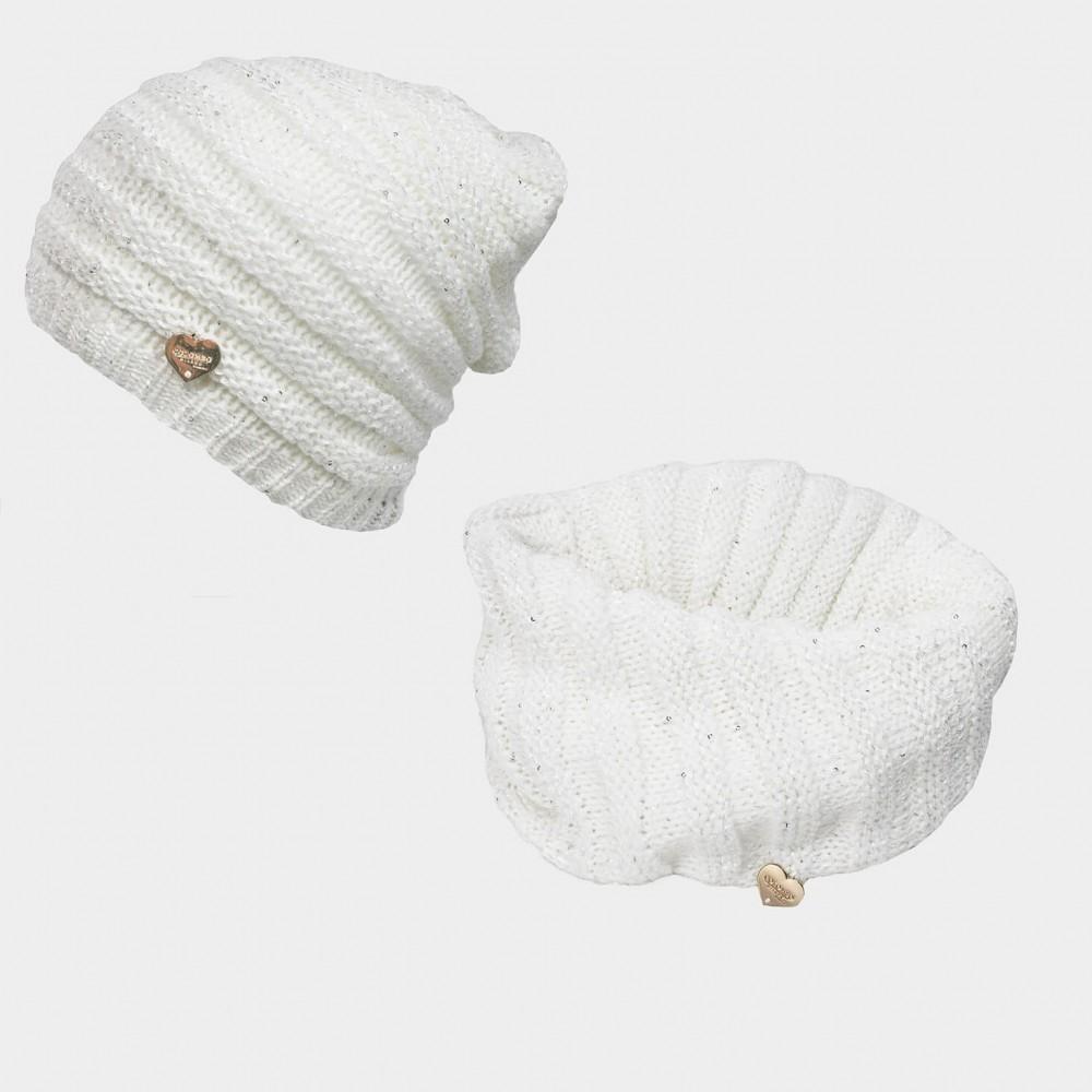 Completo di cappello e sciarpa con lurex e paillettes - Colombo Milano 1911 panna
