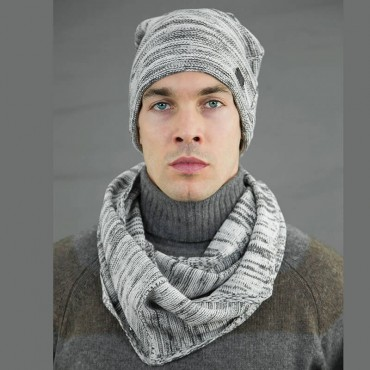 Two-tone men's hat and ring scarf - light weight model