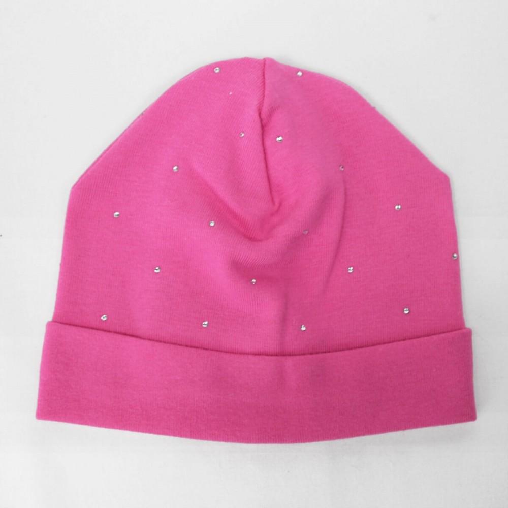 Meghan - berretto neonata fucsia con strass