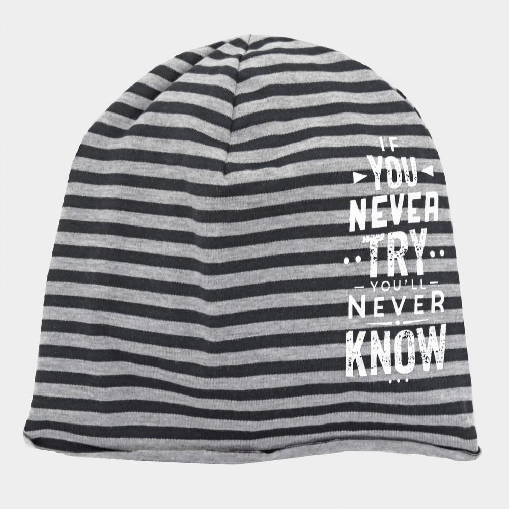 Jason - boy's striped cap with writing