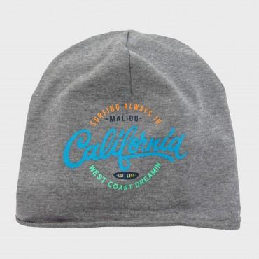 grigio- Malibù - cappello misto cotone con scritte