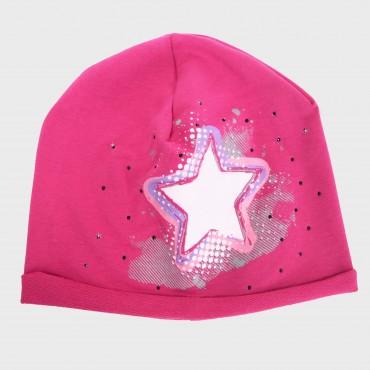 Fucsia Rockstar - cappello bimba (6-12 A) misto cotone con stella e strass