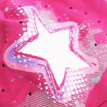 dettaglio Fucsia Rockstar - cappello bimba (6-12 A) misto cotone con stella e strass