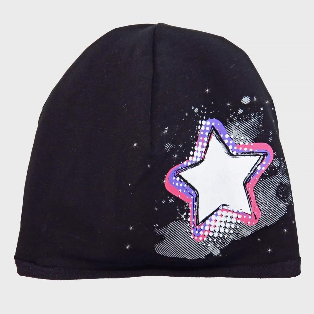 Nero Rockstar - cappello bimba (6-12 A) misto cotone con stella e strass