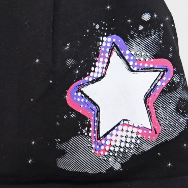 Detail black Rockstar - cotton blend girl's hat (9m-2a) with star and rhinestones