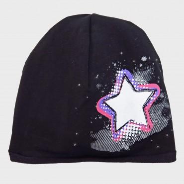Nero Rockstar - cappello bimba (9m-2a) misto cotone con stella e strass
