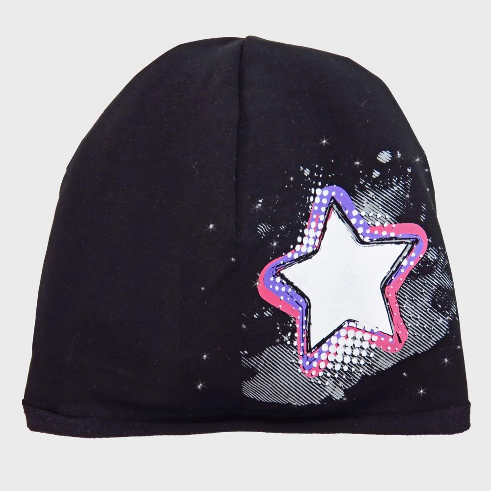 Black Rockstar - cotton blend girl's hat (9m-2a) with star and rhinestones