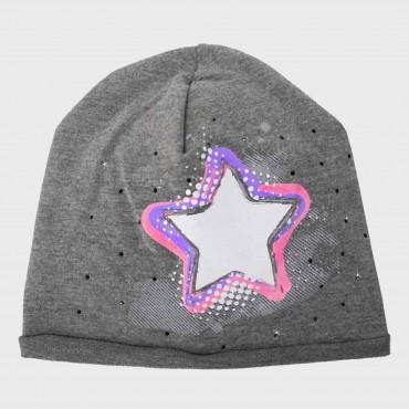 Grigio Rockstar - cappello bimba (6-12 A) misto cotone con stella e strass