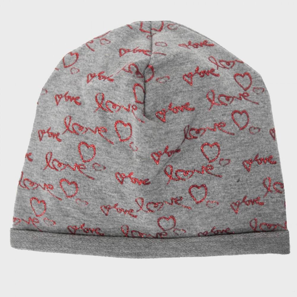 Grigio - Love - berretto bambina con stampa glitter