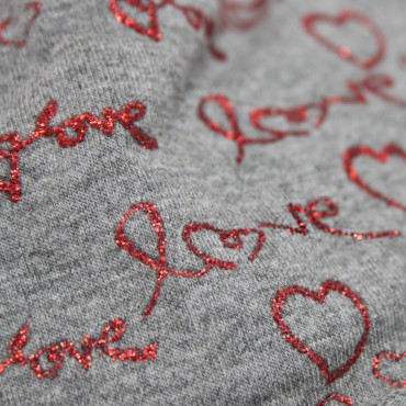 Dettaglio- Love - berretto bambina con stampa glitter