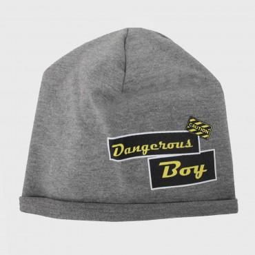 grigio - DANGER - cappello bambino ragazzo misto cotone con stampa