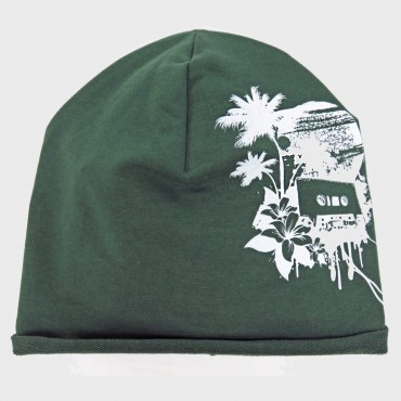 Green TROPIC - cotton blend baby hat  with tropical print
