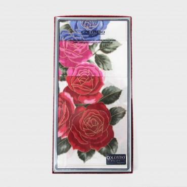 scatola - Giulia - fazzoletti di cotone da donna con stampe grandi rose con contorni d'oro