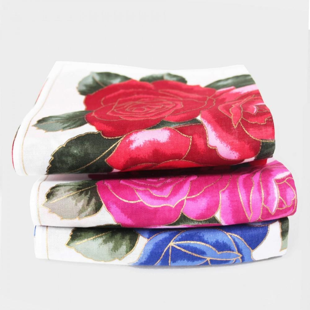 Varianti - Giulia - fazzoletti di cotone da donna con stampe grandi rose con contorni d'oro