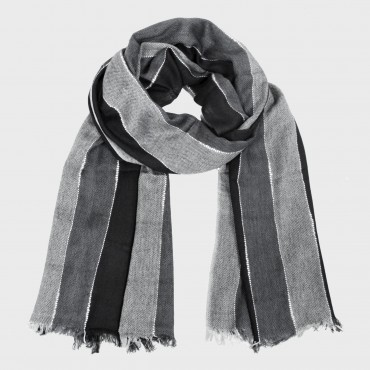 Striped scarf in multiple colors in a gift box black grey