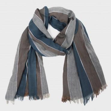 Sciarpa leggera -morbida pashmina righe più colori - blu e fango