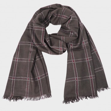 Checked scarf with cotton viscose blend in gift box brown