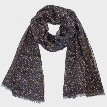 Sciarpa leggera -pashmina stampa a piccole macchie senape - blu