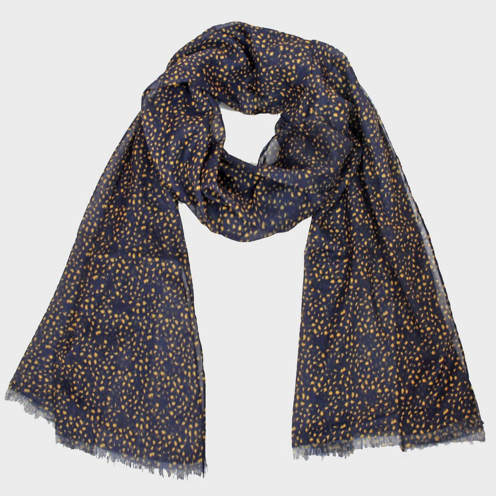 Scarf with small mustard spots print in a gift box blu