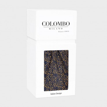 Scarf with small mustard spots print in a gift box blu box