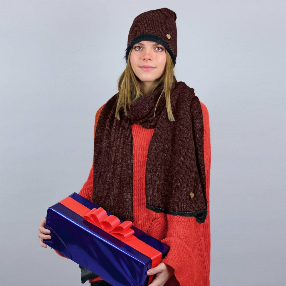 Iridescent hat and stole with faux fur trim - Rust color