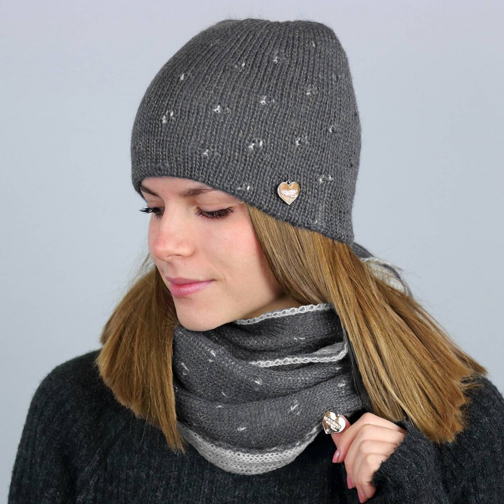 Hat and ring scarf with lurex - grey made in italy