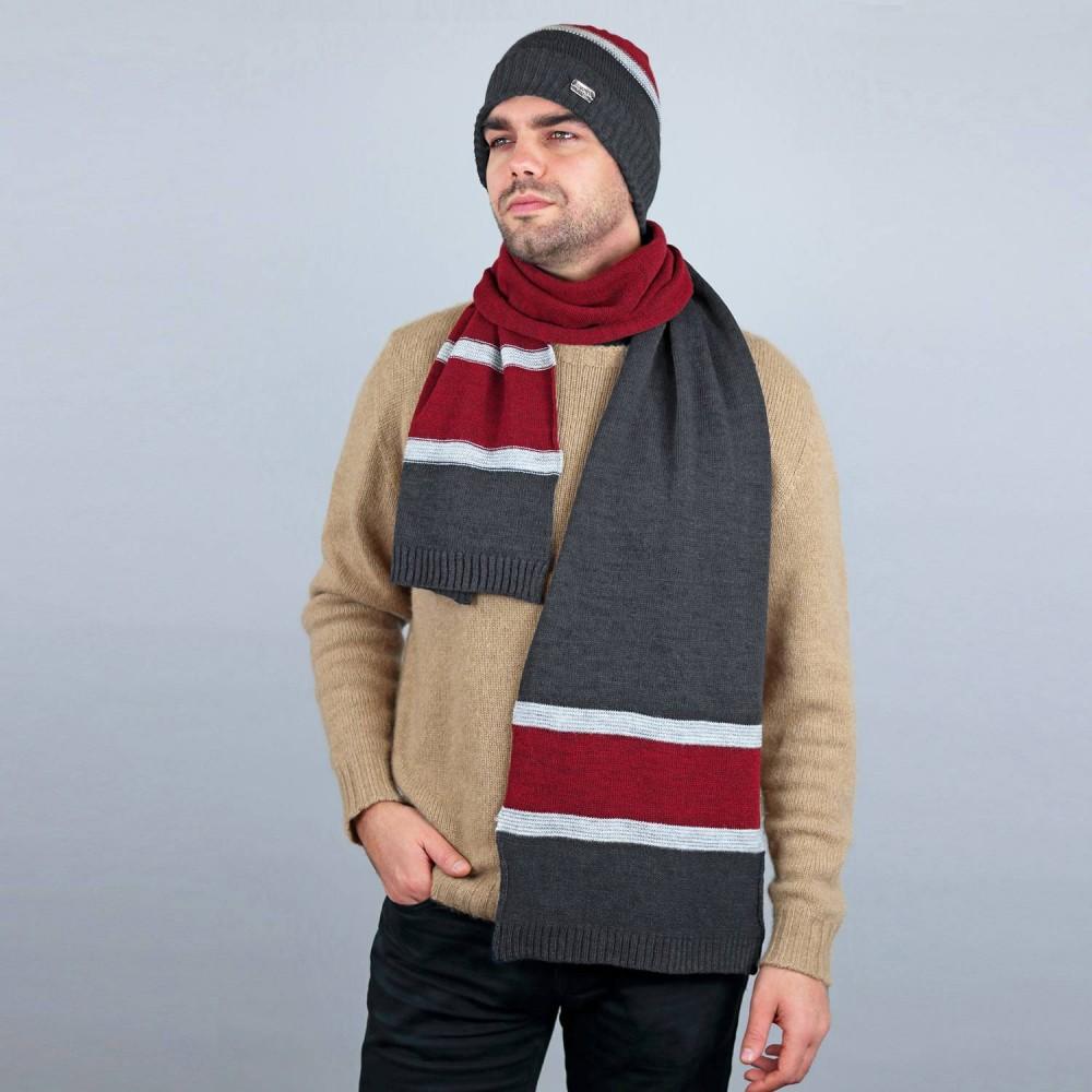Cappello e sciarpa rigati misto lana - Made in Italy - grigio