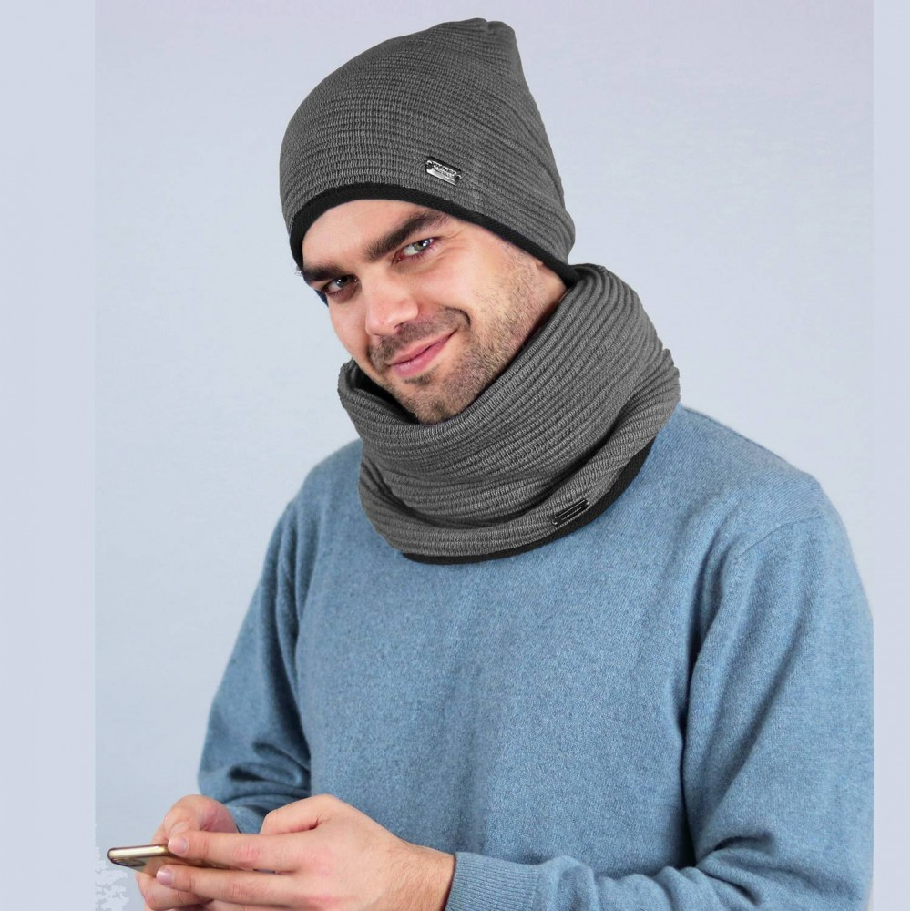 Woolen Ribbed hat and ring scarf - Made in Italy grey