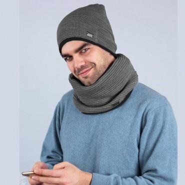 Cappello e sciarpa ad anello misto lana con bordo - Made in Italy - grigio