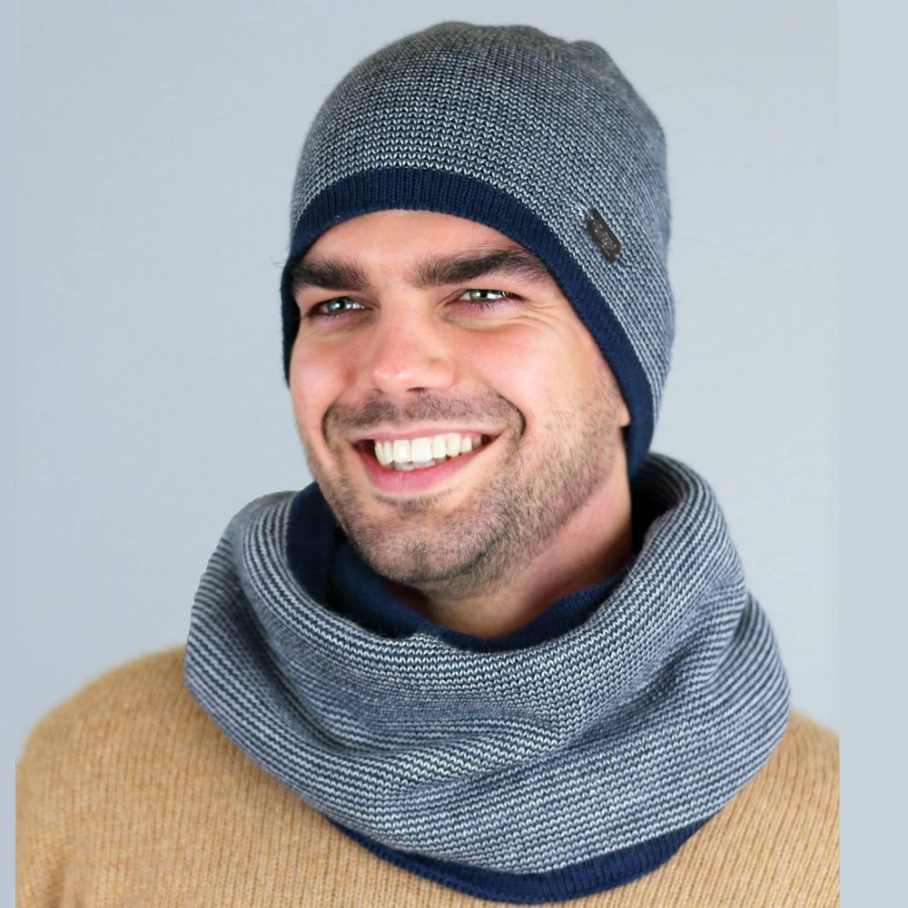 Striped wool hat and round scarf - Made in Italy