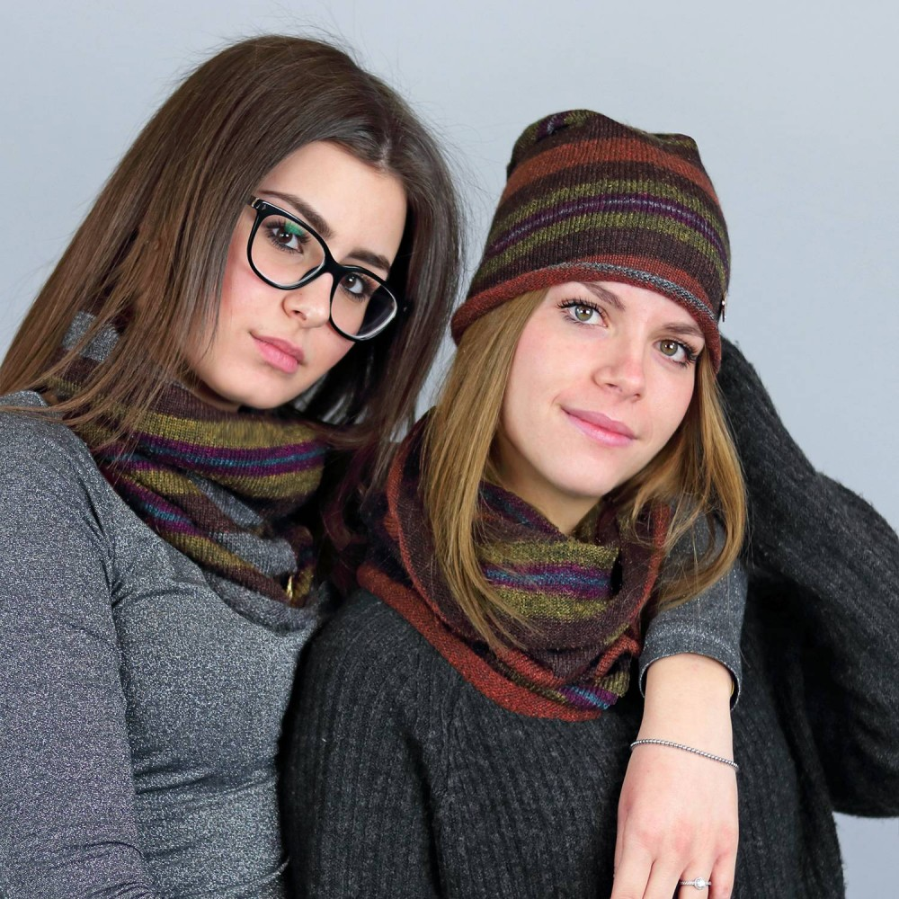Multi-colored striped hat and neck warmer models