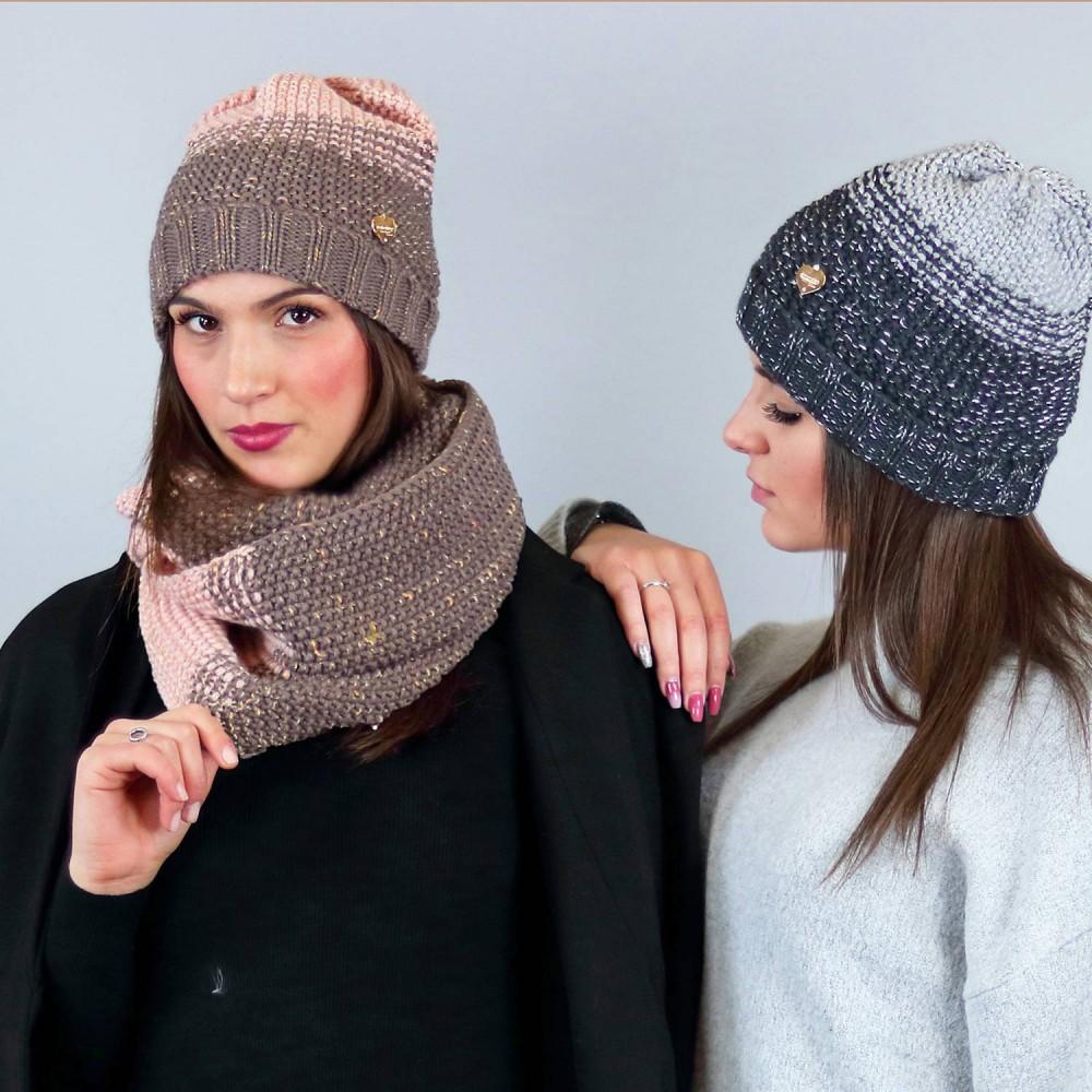 Cappello e sciarpa ad anello sfumate con lurex oro - fango