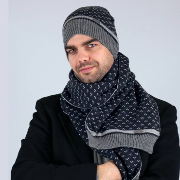 Hat and scarf jacquard motif tie navy background
