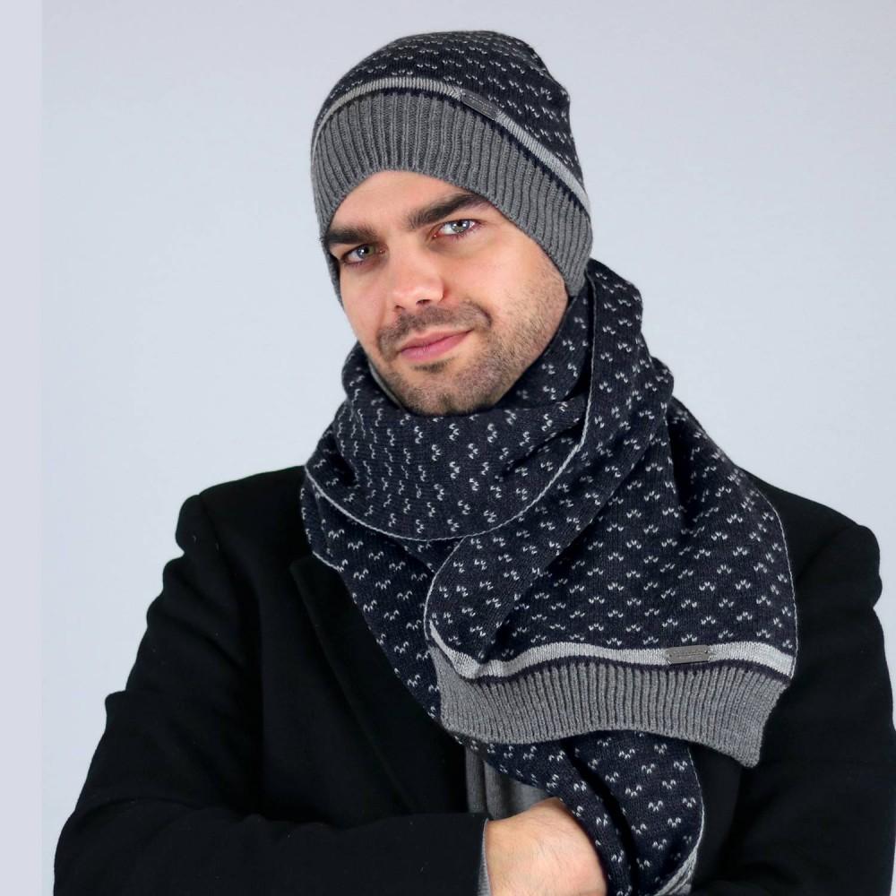 Cappello e sciarpa da uomo jacquard fantasia