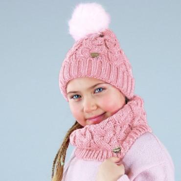 Cappello e scaldacollo a trecce con lurex