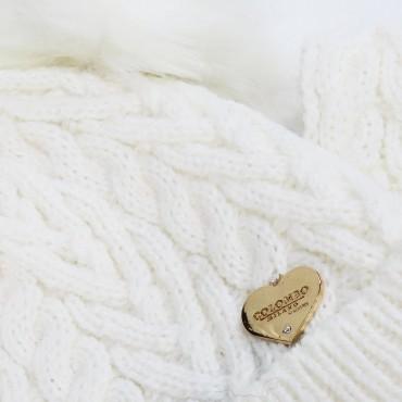 Berretto e sciarpa a trecce con doppio pompon - dettaglio